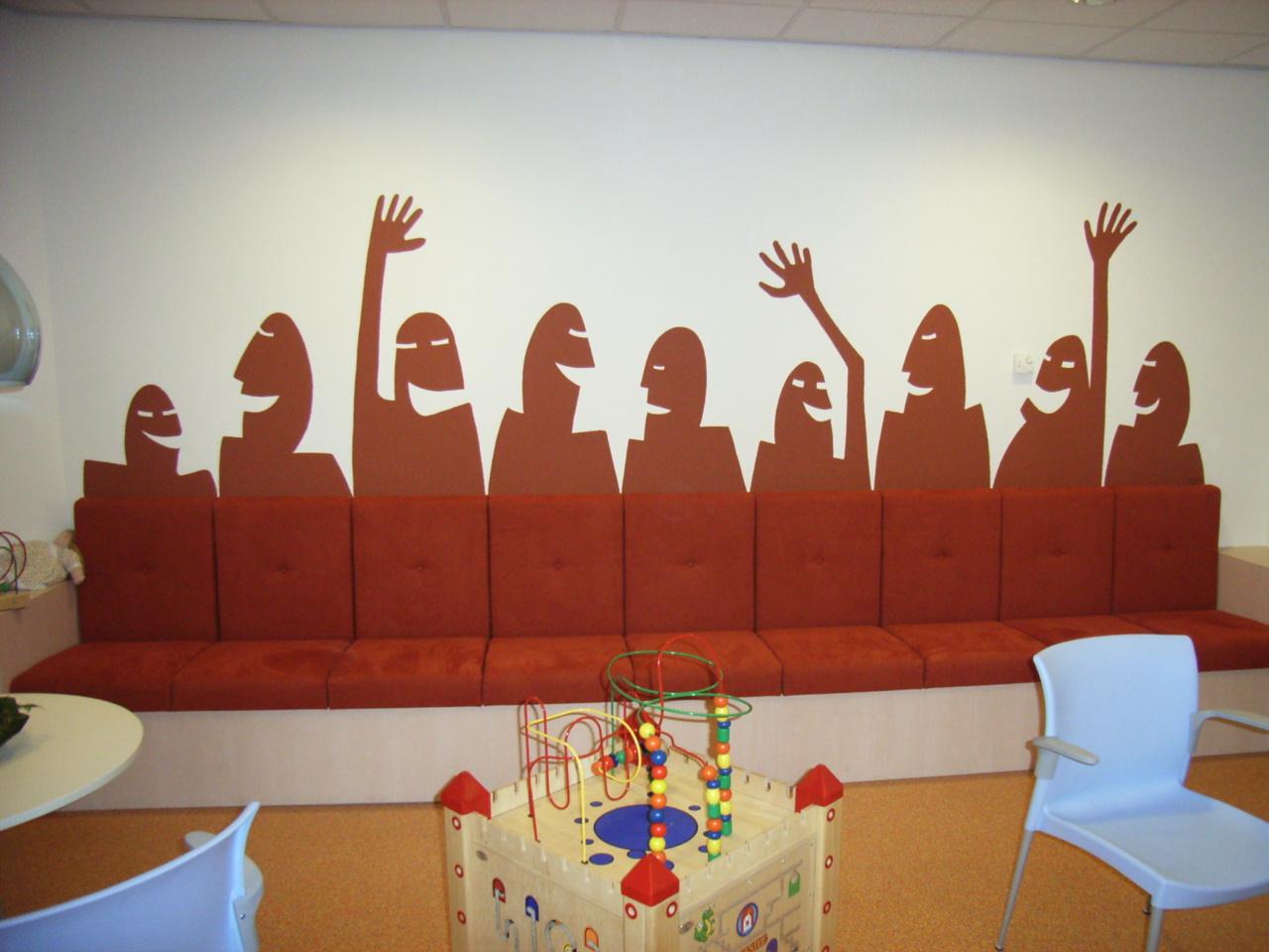 Muurschildering wachtkamer verloskundigenpraktijk