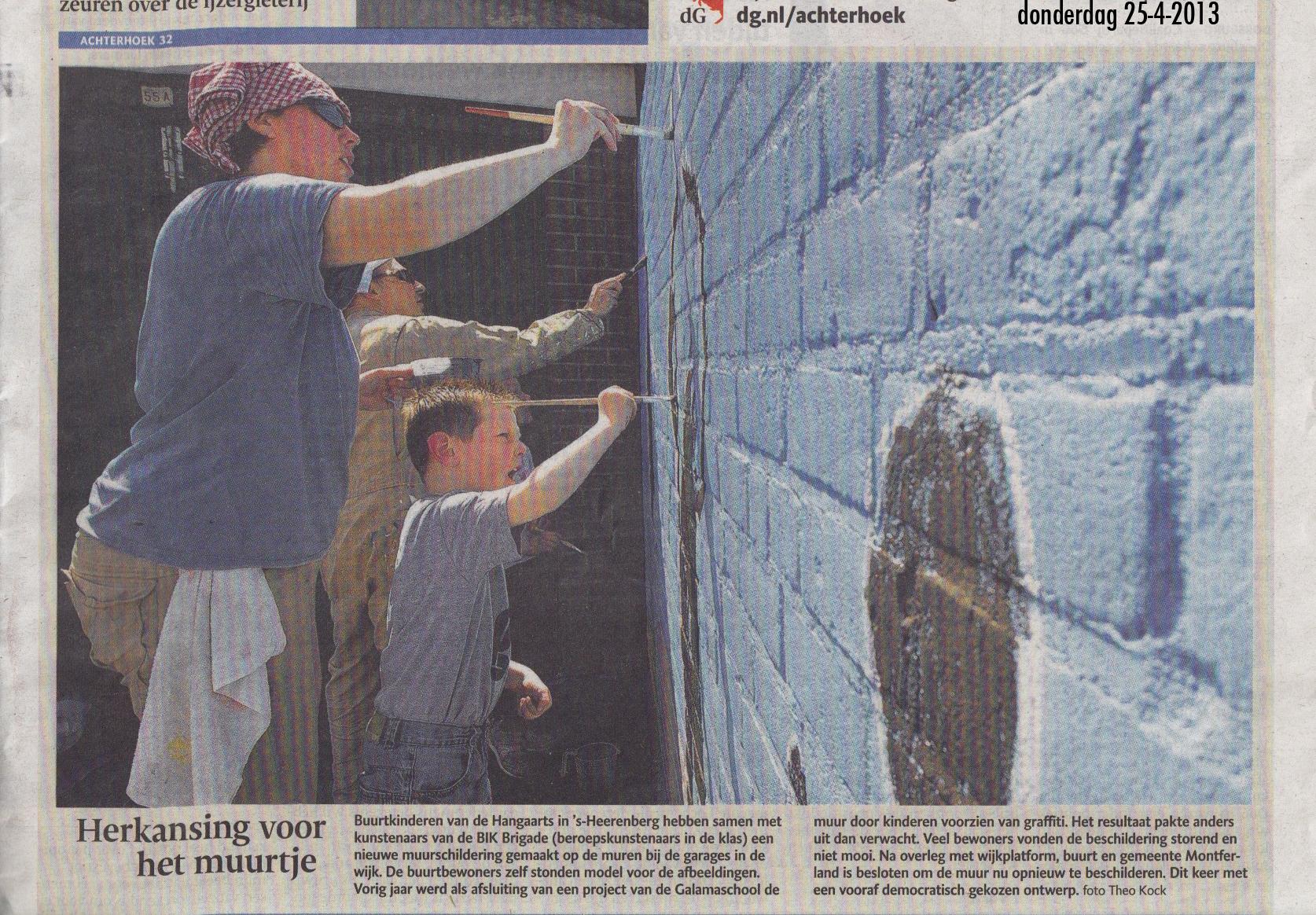 Gemeente 's heerenberg muurschildering met buurtbewoners Hangaarts