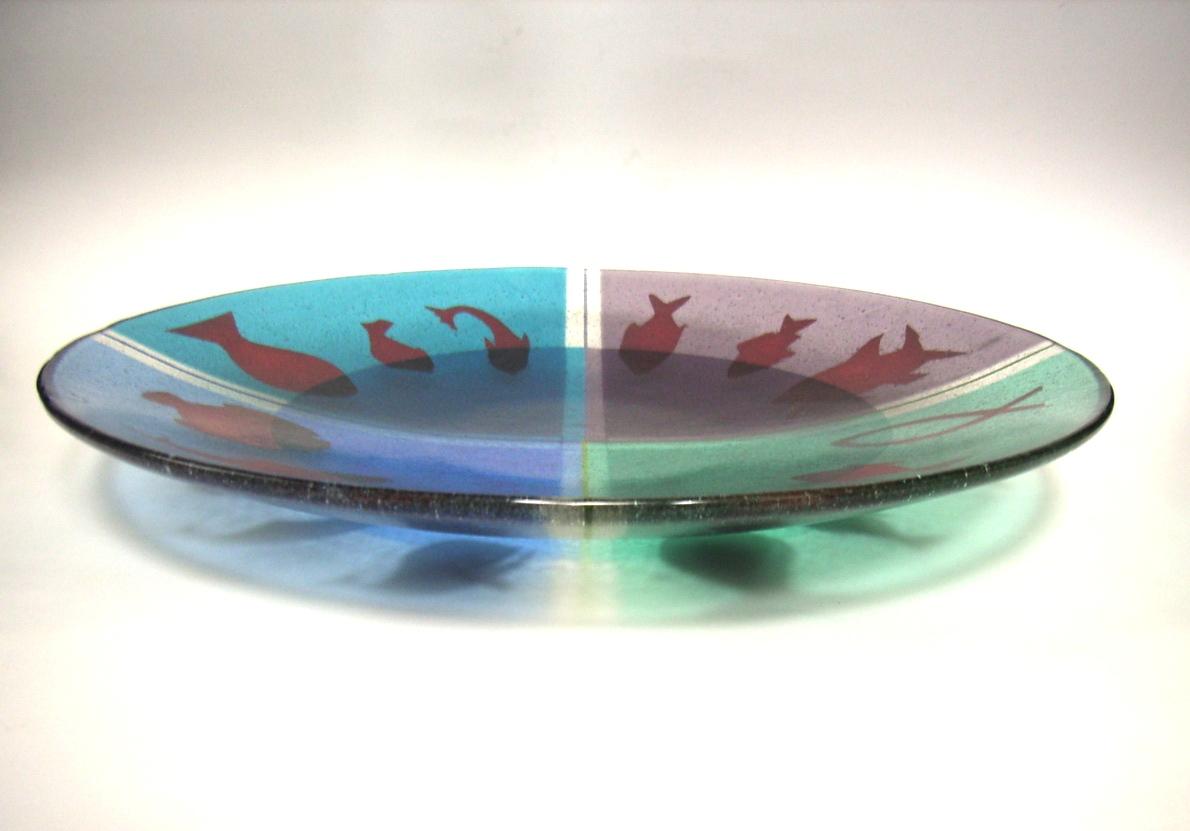 Glazen schaal met koperfolie